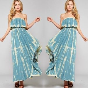 JENNIE Tie Dye Maxi Dress - TEAL BLUE